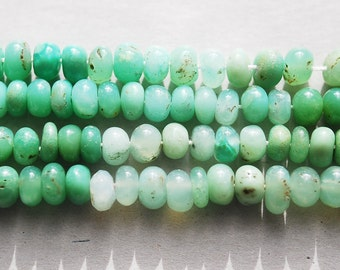 Half or Full Strand, Natural Chrysoprase Smooth Rondelle Beads, 6x3 MM