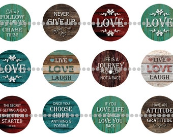 Rustic Uplifting Quotes 1 inch (25mm) for flatback cabochons pinback buttons magnets party favors wedding favors jewelry making
