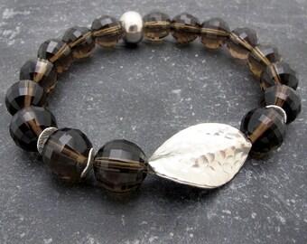smokey quartz jewelry, smoky quartz bracelet, Hill Tribe silver, stretch bracelet, gemstone bracelet,quartz bracelet, boho bracelet