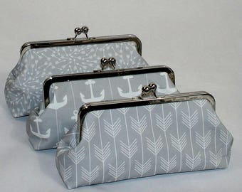 Gray Bridesmaid Clutches, Grey Wedding Clutch, Bridesmaids Gifts, Personalized Clutches, Choose Your Fabric Grey Set