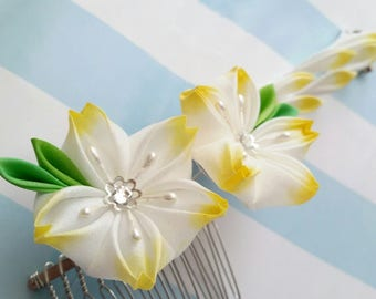 Yellow White Cherry Blossom -- Silk Kanzashi Flower Hair Comb MADE TO ORDER