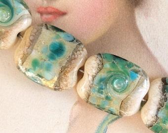 4 Lampwork Beads Set Aqua Sand
