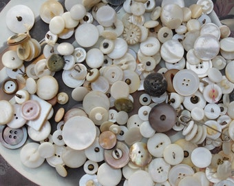 Vintage Lot Buttons Mother Of Pearl Destash