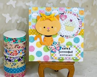Children's Birthday Card,  Handcrafted Card, Kitten Birthday Card