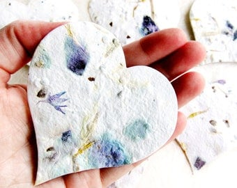 100+ Plantable Bleeding Hearts - Flower Petal Embedded Seed Paper Hearts - Creamy white with Rose Petals, Bluebell petals, and marigolds
