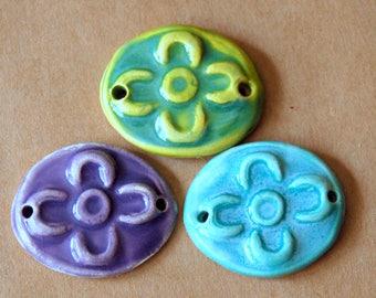 3 Handmade Ceramic Beads - Sweet Set of Bracelet Links - Folk Art Flower Beads in Spring Colors