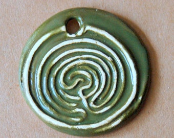 Large Labyrinth Ceramic Bead in Evergreen Green - Labyrinth Pendant with Extra Large Hole in Olive Green