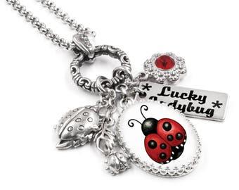 Silver Ladybug Necklace - Ladybug Gifts - Engraved Ladybug Charm - Ladybug Birthstone - Lucky Necklace - Nature Lover Gift