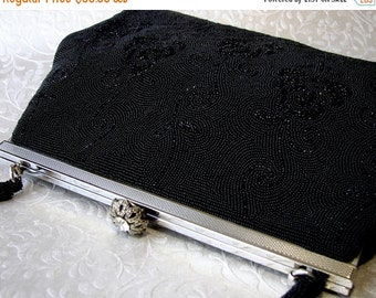 20% SALE Vintage Handmade French WALBORG Jet Black Micro Beaded Purse Formal Evening Bag Seed Bead Handbag Marcasite & Rhinestone Clasp Silv