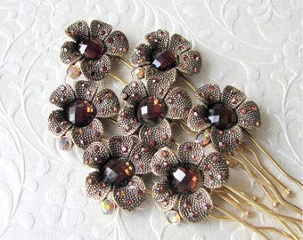 1 pc. Bronze Amber Wedding Hairpin Gold AB Rhinestone Hairpiece Jeweled Hair Pin Comb Brown Antiqued Flower Headpiece Bridal MOH Bridesmaid