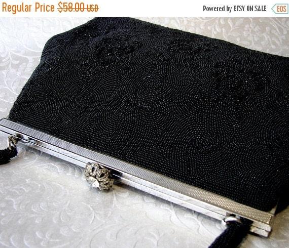 20% SALE Vintage Handmade French WALBORG Jet Black Micro Beaded Purse Formal Evening Bag Seed Bead Handbag Marcasite & Rhinestone Clasp Silv