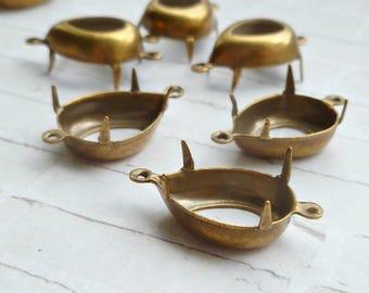 Brass Settings - 15x11mm Two Loop Pear (22-3F-12)