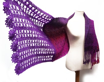 Handwoven and Crochet Shawl Scarf - Pink Purple Violet Red Black Multicolor Wool and Kid Mohair Stole with Violet Crochet Lace