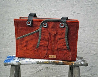 Unique Recycled Orange Leather Bag. Leather Shoulder Bag. Leather Handbag. Leather Purse. Women's Bag. German Girl's Leather Lederhosen