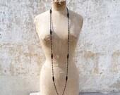 ON SALE 20% Vintage Antique French Victorian 1890/1900  Long black oblong faceted jet beads  sautoir necklace