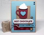 Cute Hot Chocolate is Like a Hug in a Mug Thinking of You Fancy Greeting Card Handmade in Blue Red Kraft