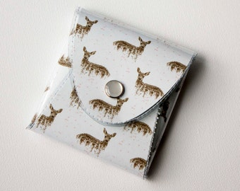 NEW Handmade Vinyl Coin Purse - Deers on White / wallet, vegan, change, snap, small, little, pocket wallet, gift, deer, woodland