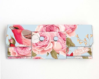 Vinyl Long Wallet - Vintage Roses 1/ birds, vegan, pretty, large wallet, clutch, card case, vinyl wallet, handmade, polka dot, blue, floral