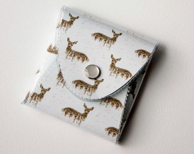 NEW Handmade Vinyl Coin Purse - Deers on White / wallet, vegan, change, snap, small, little, pocket wallet, gift, deer, woodland