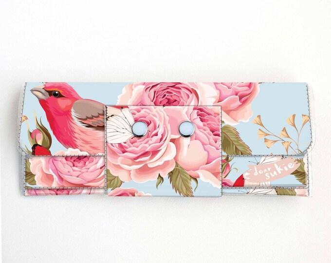 Vinyl Long Wallet - Vintage Roses 1/ birds, vegan, pretty, large wallet, clutch, card case, vinyl wallet, handmade, polka dot, blue, floral