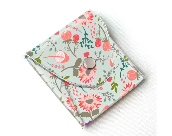 Vinyl Coin Purse - Springtime Flora / wallet, vegan, change, snap, small, little, pocket wallet, gift, floral, pink, flowers, mint, pretty
