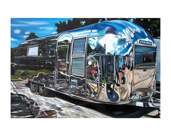"CANVAS PRINT Airstream Overlander 1950s Painting 12x8"", 18x12"", 24x16"", 30x20"", 36x24"", 42x28"", or 48x32"""