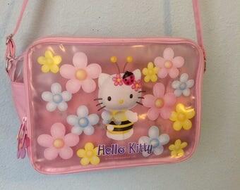 Vintage Hello Kitty Bumble Bee Pink Messenger Bag Purse Sanrio