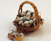 RESERVED *12th scale handmade miniature basket of free range eggs.*RESERVED for Minteriors