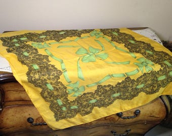 STUNNING 50s Silk Scarf Yellow with Black Lace & Green Ribbons Bow Huge Mid Century 1950s