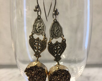 Repurposed vintage religious earrings with bronze druzy charms