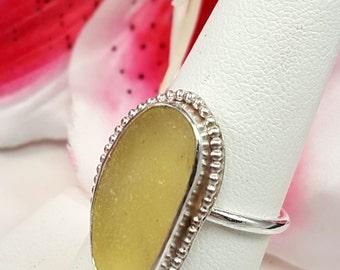 Sea Glass Jewelry Sea Glass Ring Yellow Sea Glass Jewelry Yellow Sea Glass Ring Size 7 - R-130