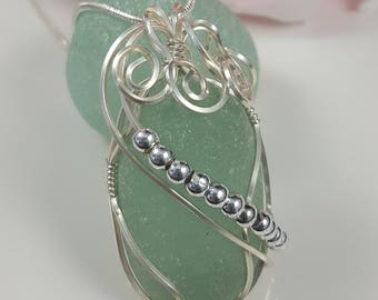 Sea Glass Necklace Sea Glass Jewelry Sterling Silver Necklace Aqua Sea Glass Necklace Wire Wrapped Sea Glass Pendant Gift for her N-509