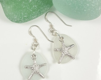 Sea Glass Earrings Sea Glass Jewelry Charm Earrings Beach Jewelry Starfish Earrings E-215