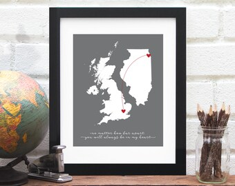Heart Map State Country Personalized Wedding Gift Long Distance Custom Map Miss You Gift Personalized Location Anniversary Gift for Couple