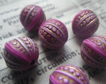 Opaque Lily Pink Gilded Fancy Engraved Round 12mm Beads 6 Pcs