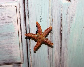 Caramel colored glass starfish drawer pull/knob
