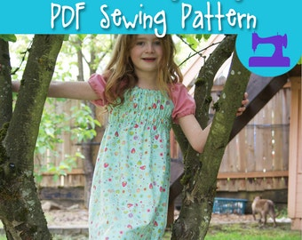 PDF SEWING PATTERN - Ramblin' Raglan Mega Pattern Pack - size 18mos - 14 - peasant dress, raglan dress, nightgown pattern, raglan sleeves
