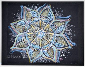 Original Expressive Mandala Mixed Media Painting: Flowering From Within