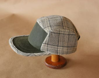 Field Hat | Wool and Waxed Canvas Hat | Grey Plaid and Green | Unisex Wool Cap | 5 Panel Camp Hat