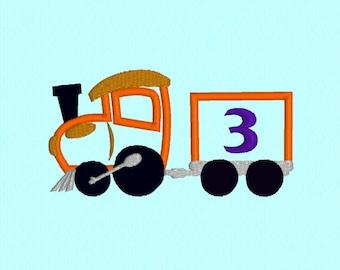 Birthday Train 3 applique machine embroidery design file