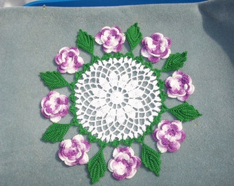 handmade round cotton crochet doily with variegated purple roses  --  2570