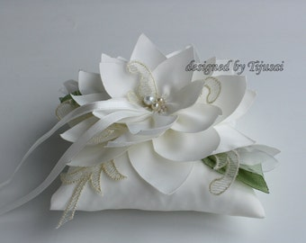 Ivory Wedding pillow with Lily flower and green leaves---ring bearer pillow, wedding rings pillow , wedding pillow, ready to ship
