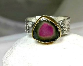 Watermelon  Tourmaline Ring, Solitaire Ring,   silver and 22 kt gold gemstone  ring,  statement ring