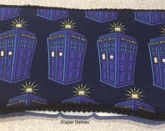 Dr Who Tardis WIPE Case BOY or GIRL baby shower gift Blue Black Time Space Machine
