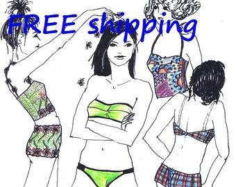 FREE Ship BIKINI pattern JST6 for young Lingerie Low Rider & Beachwear by Merckwaerdigh