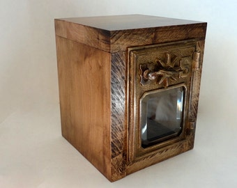 Rugged Maple Safe w/ 1901 Bronze Starway USPS Door Post Office Retirement Lock Box Bank Groomsman Wedding Party 5th 8th Anniversary lockbox