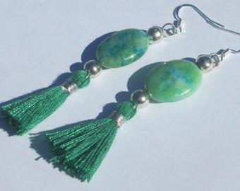 Tassel Earrings Green Tassel Pierced Earrings green with blue stone tassel design pierced hand made earrings by Ziporgiabella