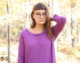 ready to ship // Simple 3/4 Sleeve T-shirt Dress in Bamboo Jersey / by replicca / size medium / ultraviolet