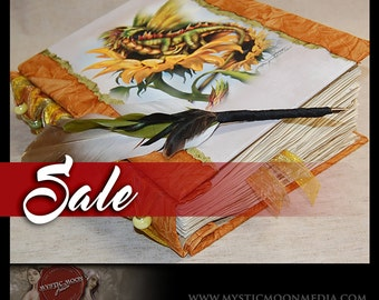 SALE / Summer Dragon... Sunflowers with Porcelain Beaded Binding... XL Book of Shadows... Journal and Quill Pen...Refillable