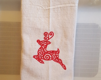 Christmas Dish Towel, Reindeer Embroidery, Red, Kitchen and Dining, Linens, Kitchen Towels,